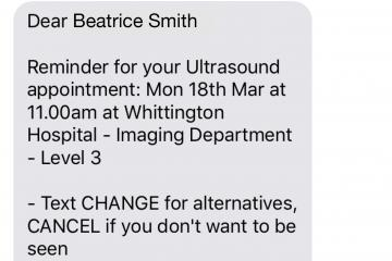 text reminder for an ultrasound appointment