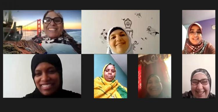 Members of Jannaty's sewing group meeting together online