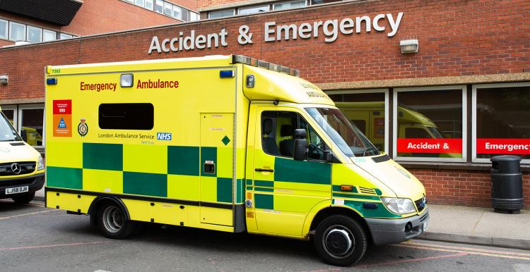 Ambulance outside an Accident and Emergency department
