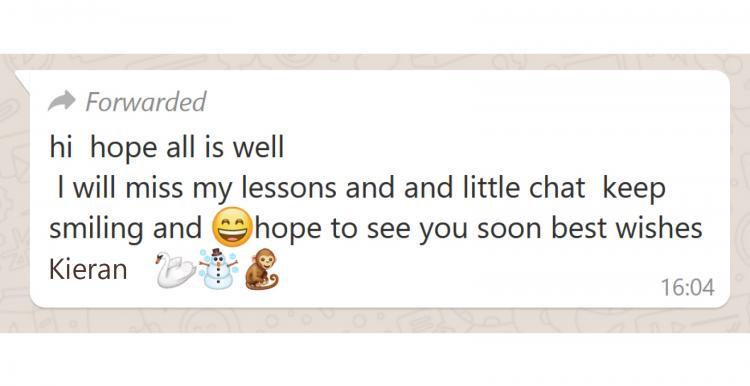 Whatsapp message sent by Kieran