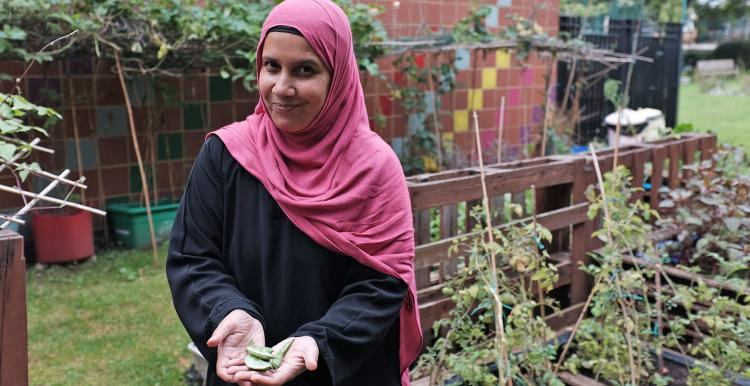 Woman from Islington's Bangladeshi community at a gardening project