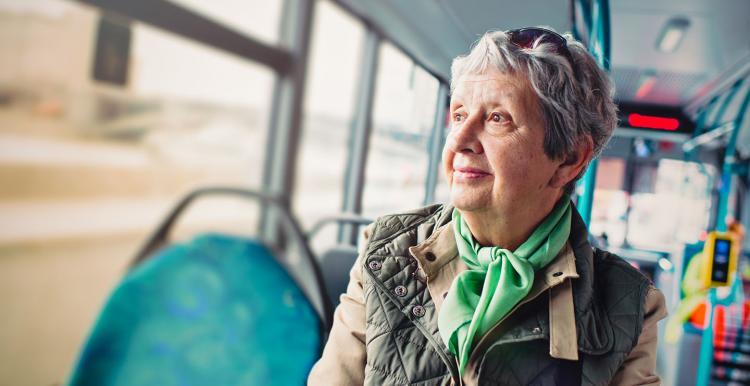 elderly woman on a bus