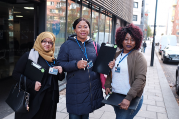 Healthwatch volunteers outside Holloway Community Health Centre