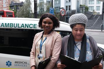 Healthwatch volunteers outside Moorfields Eye Hospital