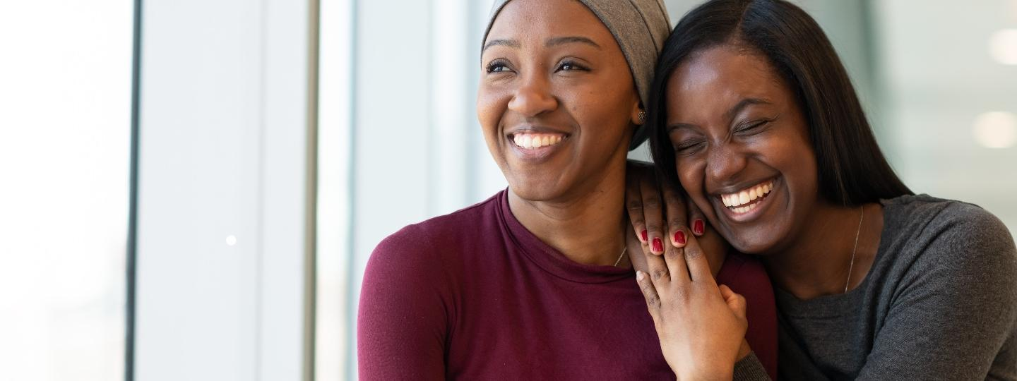 Woman with cancer spending time with a friend