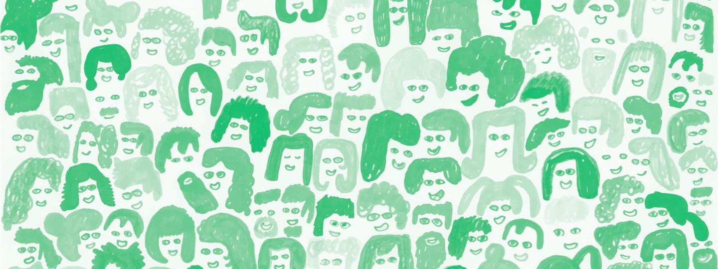 Pattern made up of drawings of people's faces