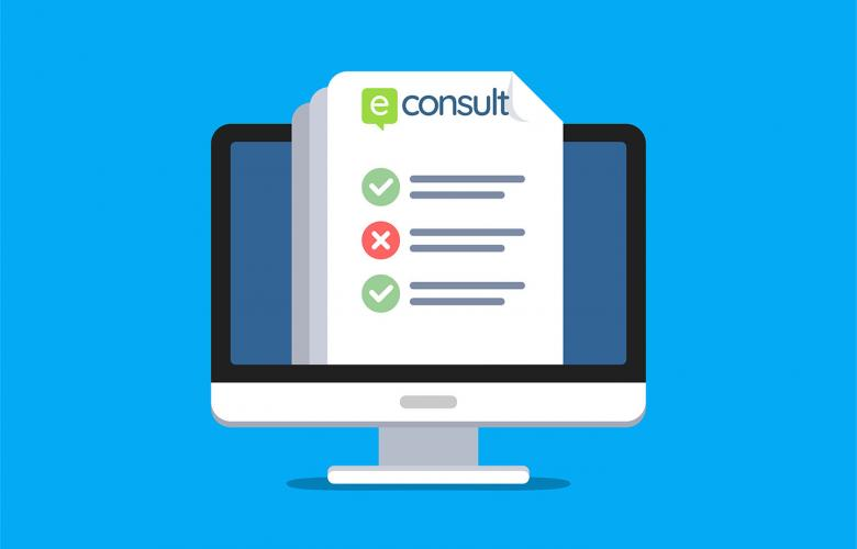 graphic showing e-consult online form